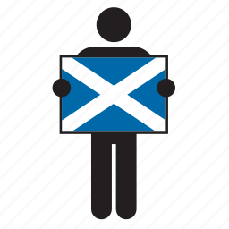 country, flag, holding, man, scotland, scottish icon