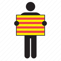 catalan, catalonia, country, flag, holding, man icon