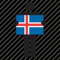 country, flag, holding, iceland, icelandic, man icon