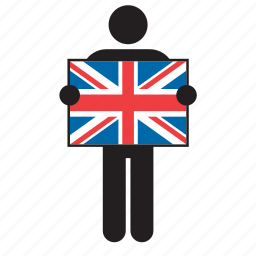 british, country, flag, great britain, holding, man, united kingdom icon