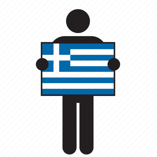 country, flag, greece, greek, holding, man icon