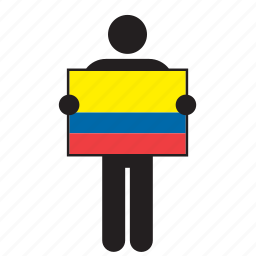 colombia, colombian, country, flag, holding, man icon