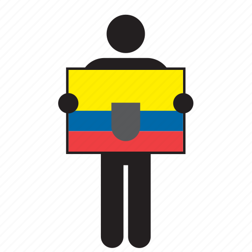 country, ecuador, ecuadorian, flag, holding, man icon