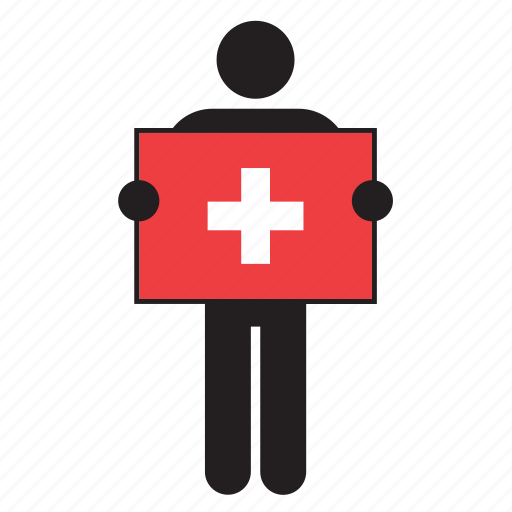 country, flag, holding, man, swiss, switzerland icon