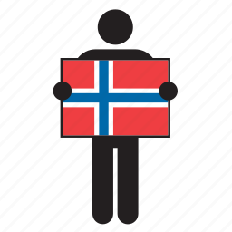 country, flag, holding, man, norway, norwegian icon