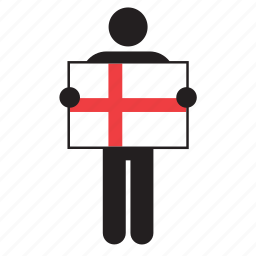 country, england, english, flag, holding, man icon