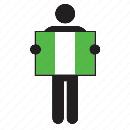 country, flag, holding, man, nigeria, nigerian icon