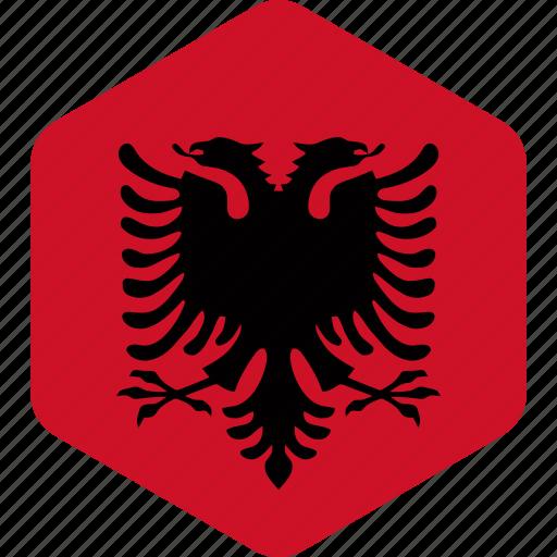 albania, albanian, country, flag, flags, hexagonal icon