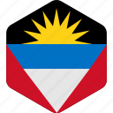 and, antigua, barbuda, country, flag, island icon