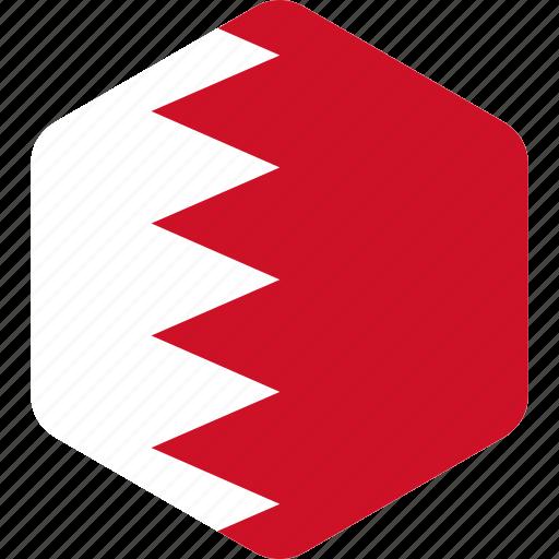 bahrain, country, flag, flags, hexagonal, hexagone, national icon