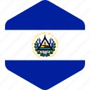 country, el, flag, flags, hexagon, national, salvador icon