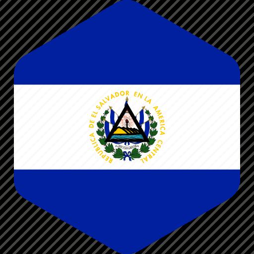 country, el, flag, flags, hexagon, national, salvador icon
