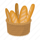 bread, food, french loaf, loaf icon