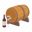wooden, bottle, alcohol, drink, grape, barrel, wine icon