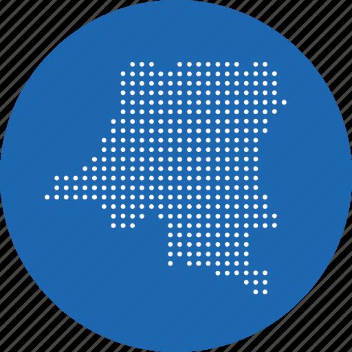 congo, country, democratic, location, map, of, republic icon