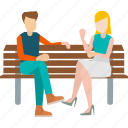 couple, hang, out, park, sitting, talking