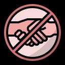 coronavirus, covid19, prohibited, stop shaking hands, virus transmission icon