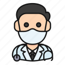 avatar, doctor, health, man, mask, medic, profession
