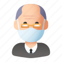 avatar, elder, elderly, grandfather, man, mask, people
