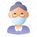 avatar, elder, elderly, grandmother, mask, people, woman