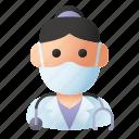 avatar, doctor, health, mask, medic, profession, woman