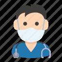 avatar, doctor, health, man, mask, medic, nurse