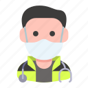 avatar, health, man, mask, paramedic, profession