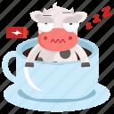 animal, cow, emoji, emoticon, sticker, tired icon