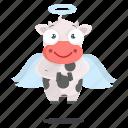 angel, animal, cow, emoji, emoticon, sticker icon