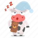 animal, bedtime, cow, emoji, emoticon, sleeping, sticker