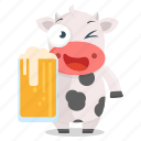 emoticon, cow, animal, emoji, sticker, beer, drink