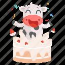 animal, birthday, cake, cow, emoji, emoticon, sticker icon