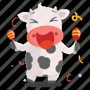 animal, celebrate, cow, emoji, emoticon, mexican, sticker icon