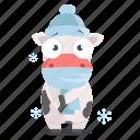 animal, cold, cow, emoji, emoticon, sticker icon
