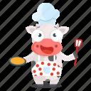 animal, chef, cooking, cow, emoji, emoticon, sticker icon
