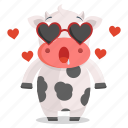 animal, cow, emoji, emoticon, in, love, sticker icon