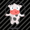 animal, cow, emoji, emoticon, exercise, jumprope, sticker icon