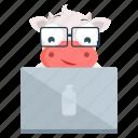 animal, cow, emoji, emoticon, laptop, sticker icon