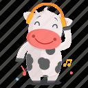 animal, cow, emoji, emoticon, listening, music, sticker icon
