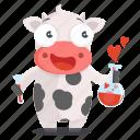 animal, chemistry, cow, emoji, emoticon, love, sticker icon