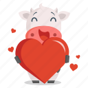 animal, cow, emoji, emoticon, heart, love, sticker icon