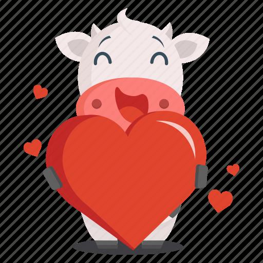 animal, cow, emoji, emoticon, heart, love, sticker icon