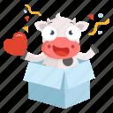 animal, cow, emoji, emoticon, love, sticker, surprise icon
