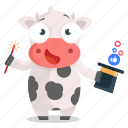 cow, emoji, emoticon, magic, media, social, sticker icon