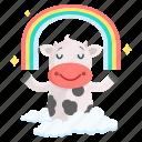 animal, cow, emoji, emoticon, meditation, rainbow, sticker icon