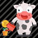 animal, cow, emoji, emoticon, growth, money, sticker icon