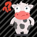animal, cow, emoji, emoticon, question, sticker icon