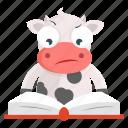 animal, cow, emoji, emoticon, reading, sticker icon