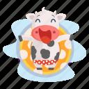animal, cow, emoji, emoticon, pool, relaxation, sticker icon