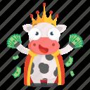 animal, cow, emoji, emoticon, king, rich, sticker icon